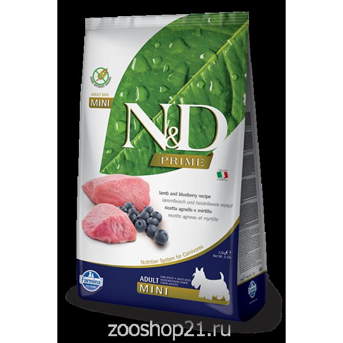Корм Farmina N&D Lamb & Blueberry Adult Mini беззерновой для взрослых собак мелких пород ягненок с черникой, 2.5 кг